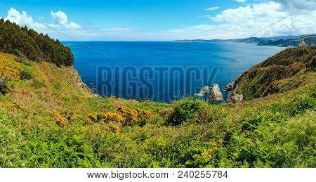 Atlantic Ocean Summer Coastline Landscape (galicia, Spain). Two Shots Stitch Panorama.