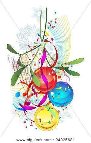 Mistletoe and Christmas bauble decoration