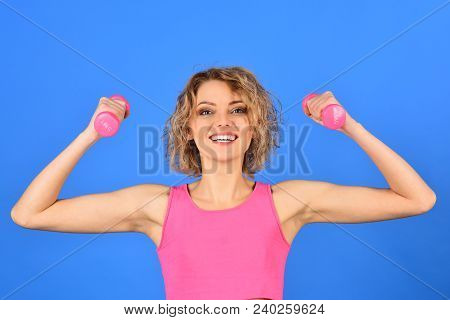Fitness Girl. Beautiful Fitness Woman With Lifting Dumbbells. Active Sportive Athletic Woman With Du