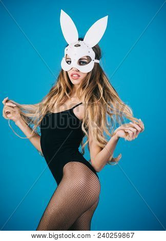 Sexy Bunny Girl. Easter Bunny Female. Beautiful Seductive Woman In Sexy Lingerie And In Bunny Mask.