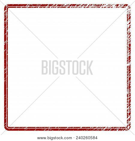 Double Rounded Square Frame Distress Textured Template. Vector Draft Element With Grainy Design And