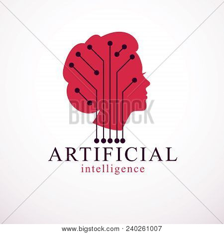Computer Human Android Bot, Artificial Intelligence Concept. Human Profile With Electronics Elements