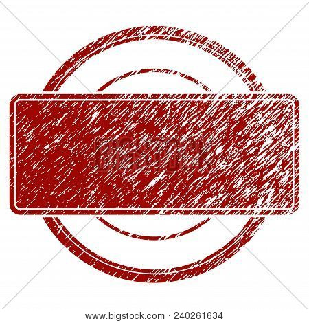 Round And Rectangle Frame Grunge Textured Template. Vector Draft Element With Grainy Design And Corr