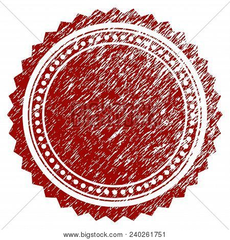 Round Rosette Seal Grunge Textured Template. Vector Draft Element With Grainy Design And Unclean Tex
