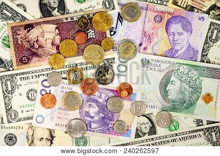 Foreign Currency Closeup Of Money International Currencies