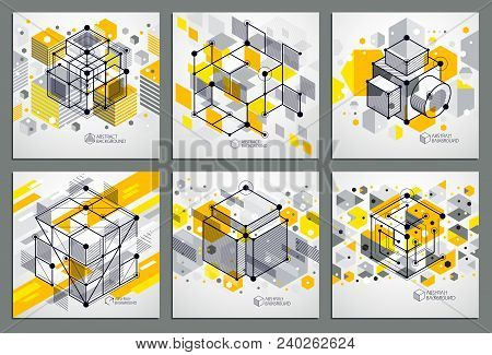 Engineering Technological Yellow Vector 3d Backdrops Set Made With Cubes And Lines. Illustration Of
