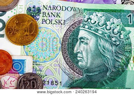 Poland Foreign Currency Closeup Of Money International Currencies
