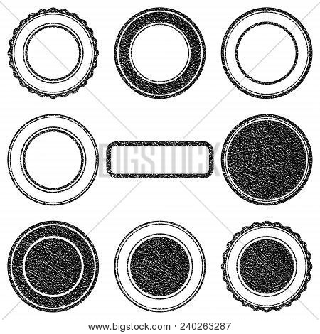 Vector Stamp Without Text. Set Of Stamps . Black Stamps . Grunge Rubber Texture Stamp . Distressed S