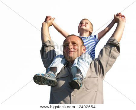 Granfather With Grandson Isolated