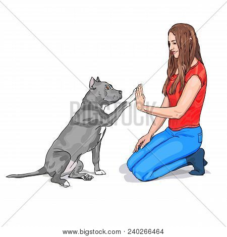 Dog and girl are giving a high five isolated on white background. Dog and girl are friends. The owner and Staffordshire terrier dog are playing. Vector illustration. Purebred Dog sitting with a girl. Dog raised a paw like give me five gesture.