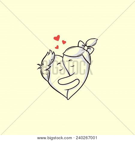 Colored Illustration Of Drawn Cartoon Lovers Embracing In The Shape Of Heart