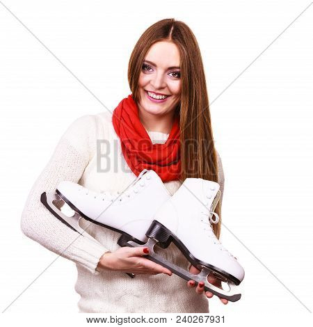 Woman With Ice Skates Getting Ready For Ice Skating, Winter Sport Activity. Smiling Cheerful Girl We
