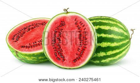 Isolated Watermelons. One Whole Watermelon Fruit And One Cut In Half Isolated On White Background Wi