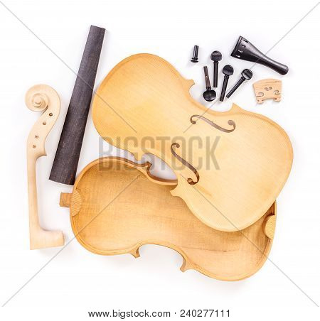 Raw Violin Or Viola Parts On White Background