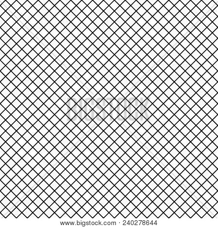 Vector Uniform Grid Checkered Fishnet Tights Seamless Pattern. Black Lines Isolated On White Backgro