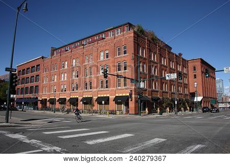 Denver, Colorado - September 30: Lone Bicycle Rider In The Lodo Historic District On September 30, 2