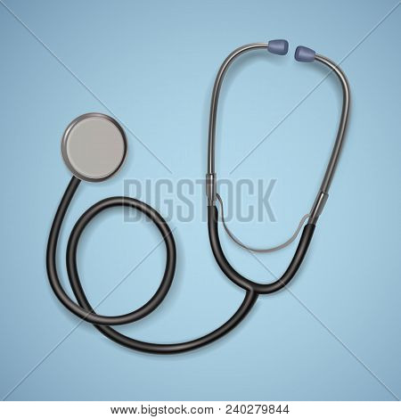 Realistic Medical Stethoscope. Background With Stethoscope Medical Equipment, Health Care Concept. V