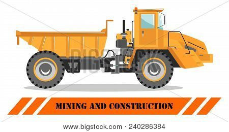 Detailed Illustration Of Mining Truck. Off-highway Truck. Heavy Mining Machine Equipmente And Constr