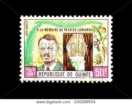 Guinea - Circa 1962 : Cancelled Postage Stamp Printed By Guinea, That Shows Patrice Lumumba.