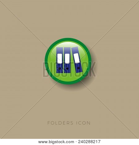 Folders Icon. Folders, Office, Documents, Storage, Accounting, Order, Archive On A Round Glossy Badg