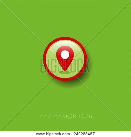 Map Marker Icon. Red Map Marker On A Circle. Map Marker On A Round Glossy Badge With Shadow.
