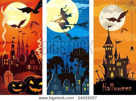 Vector Set of grunge Halloween vertical banners.