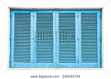 Leuca, Apulia, Italy - A Traditonal Blue Closed Lamella Window