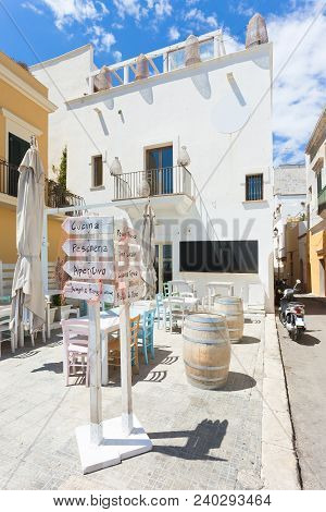Gallipoli, Apulia, Italy - Tiny Liettle Restaurant With Colorful Interior