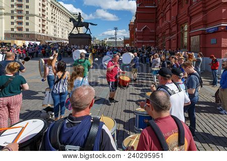 Moscow, Russia, August 24, 2017: Rehearsal Of The Orchestra Of Drummers And Bagpipes  On The Manezhn