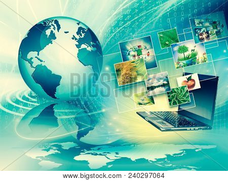 Computer mobility, internet communication and cloud computing concept: laptop with cloud of color application icons