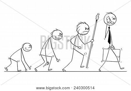 Cartoon Stick Man Drawing Conceptual Illustration Of Human Businessman Evolution Process Progress.