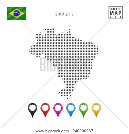 Dotted Map Of Brazil. Simple Silhouette Of Brazil. The National Flag Of Brazil. Set Of Multicolored