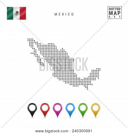 Dotted Map Of Mexico. Simple Silhouette Of Mexico. The National Flag Of Mexico. Set Of Multicolored