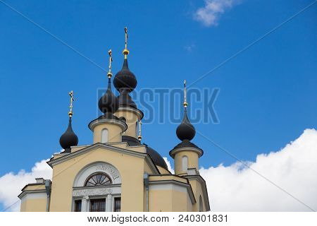 The Church Of The Protection Of The Holy Virginn In Krasnoye Selo. Orthodox Church Of The Epiphany D
