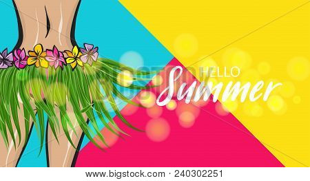 Hawaii Woman Pop Art Style Retro Poster. Hello Summer Vacation Tropical Banner. Comic Text Halftone