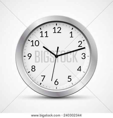 Office Clock Vector Circle Modern Business Sign. Round Office Clock Wall Design Object.