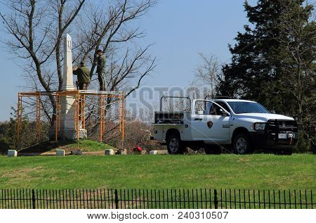 Manassas, Va - April 18: National Park Service Personnel Engage In Restoration Work At The Historic