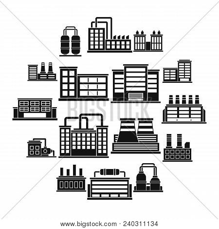 Industrial Building Factory Icons Set. Simple Illustration Of 16 Industrial Building Factory Vector