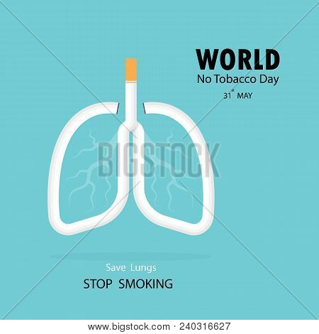 Lung And Cigarette Icon With Stop Smoking Vector Logo Design Template.may 31st World No Tobacco Day