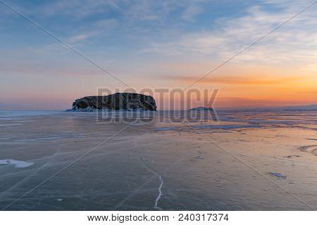 Beautiful Sunrise Over Siberia Baikal Water Lake Winter Season Natural Landscape Background Russia