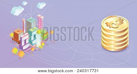 Bitcoin Concept Vector Illustration City With Bitcoin Are Connected Each Other, City Need Bitcoin To