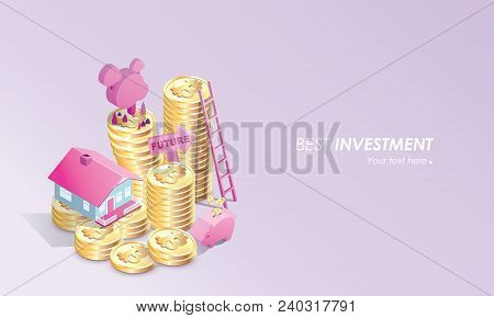 Pastel Color Bitcoin Concept Vector Illustration Of Home , Stair, Piggy Bank Savings And Making Inve
