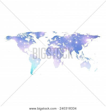 Vector Template World Map With Global Technology Networking Concept. Global Network Connections. Dig