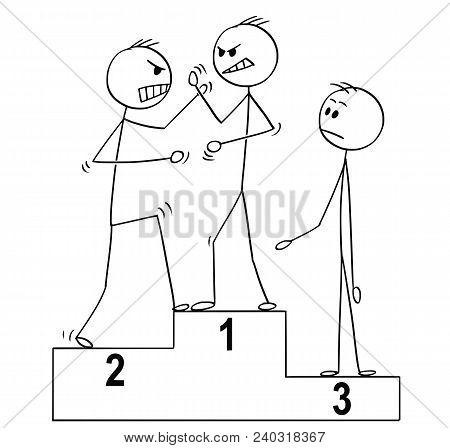 Cartoon Stick Man Drawing Conceptual Business Or Sport Illustration Of Three Man On Winners Podium,
