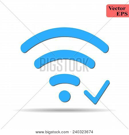Wifi Icon With Check Sign. Wifi Icon And Approved, Confirm, Done, Tick, Completed Concept. Vector Ic
