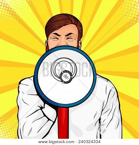 Young Businessman With Open Mouth And Megaphone Screaming Announcement. Party Invitation Poster. Col