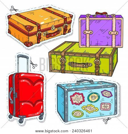 Vector Sticker Icon. Vector Illustration Sketch, Of Comic Style Colorful Icons, Set Travel Bags, Ret