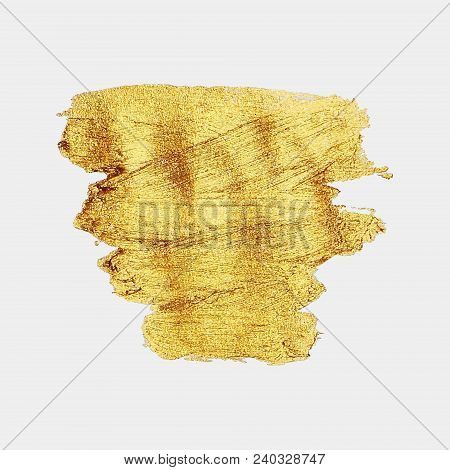 Smear Gold Paint. Vector Golden Spot. Golden Brush. Abstract Gold Glittering Textured Art Illustrati