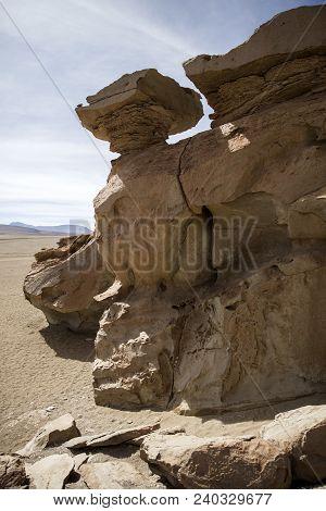 Rock Formations Of Dali Desert In Bolivia At Eduardo Avaroa Andean Fauna National Reserve In Bolivia