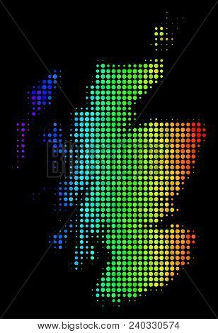 Dot Scotland Map. Halftone Territory Scheme Drawn With Rainbow Color Tints With Horizontal Gradient